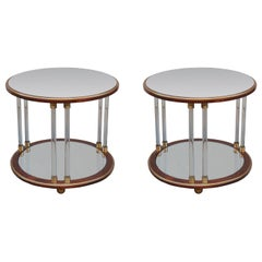 Pair of Art Deco Round Two-Tier Side Tables