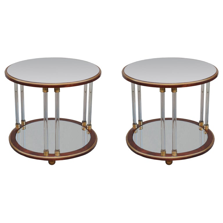 Pair of Art Deco Round Two-Tier Side Tables For Sale
