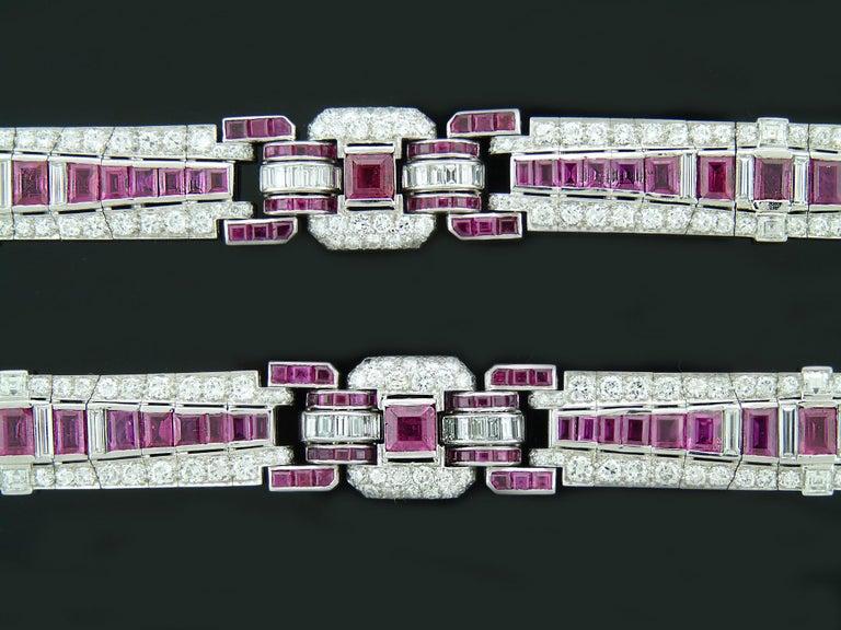 Old European Cut Pair of Art Deco Ruby and Diamond Platinum Bracelets For Sale