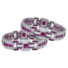 Pair of Art Deco Ruby and Diamond Platinum Bracelets