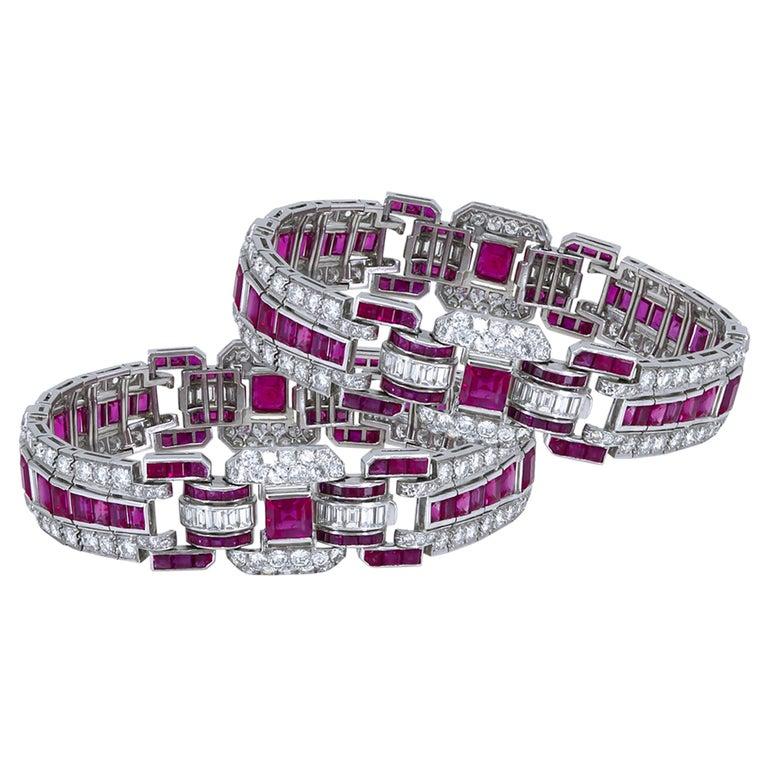 Pair of Art Deco Ruby and Diamond Platinum Bracelets For Sale