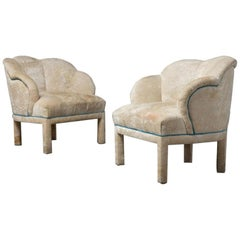Pair of Art Deco Scalloped Top Club Chairs