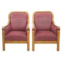 Pair of Art Deco Scandinavian Birch Lounge Armchairs