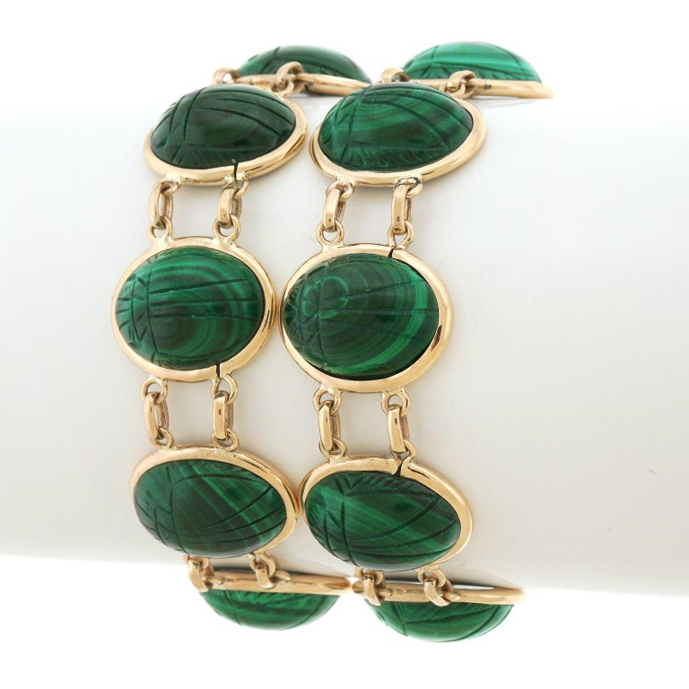 Pair of Art Deco Scarab Bracelets In Excellent Condition For Sale In Litchfield, CT