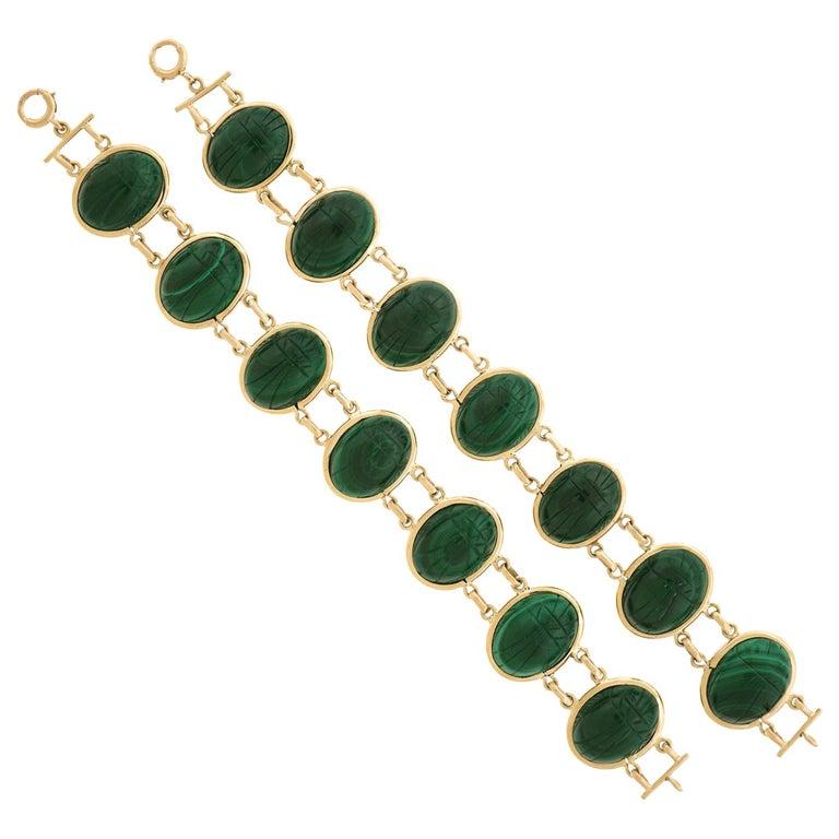 Pair of Art Deco Scarab Bracelets For Sale