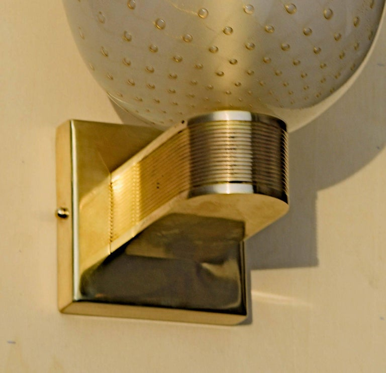 Mid-Century Modern Pair of Art Deco Sconces, Brass Hardware and Gold Leaf Baloton, Jean Offer