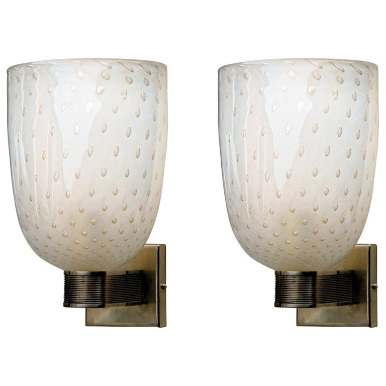 Pair of Art Deco Sconces, Brass Hardware and Gold Leaf Baloton, Jean Offer