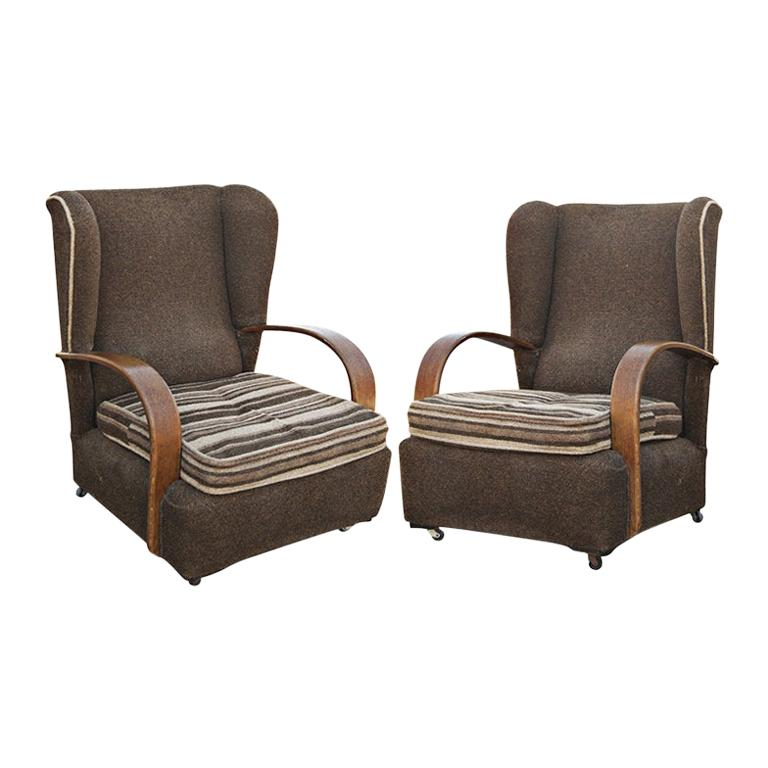 Pair of Art Deco Scrolled Arms Wing Chairs For Sale