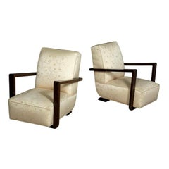 Pair of Art Deco Sculptural Lounge Armchairs
