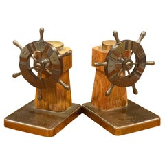 Pair of Art Deco Ship's Wheel Bookends by Walter Von Nessen for Chase & Co.