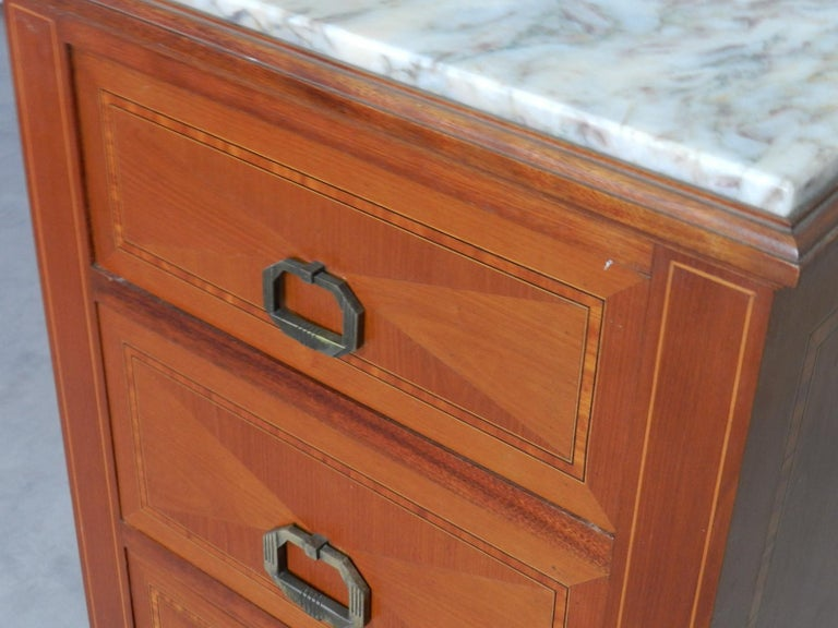 Inlay Pair of Art Deco Side Cabinets Nightstands Inlaid Bedside Tables French For Sale