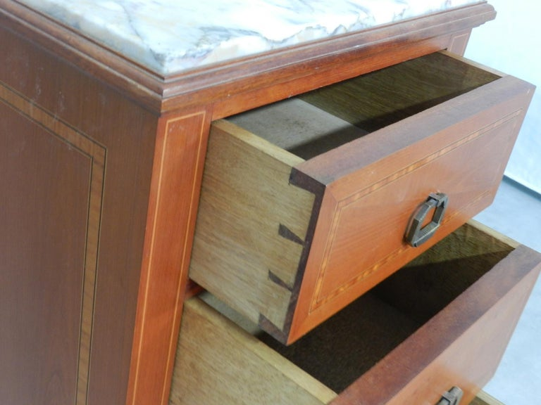 Marble Pair of Art Deco Side Cabinets Nightstands Inlaid Bedside Tables French For Sale