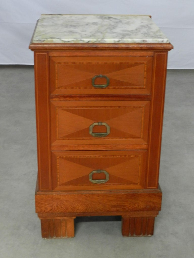 Pair of Art Deco Side Cabinets Nightstands Inlaid Bedside Tables French For Sale 1