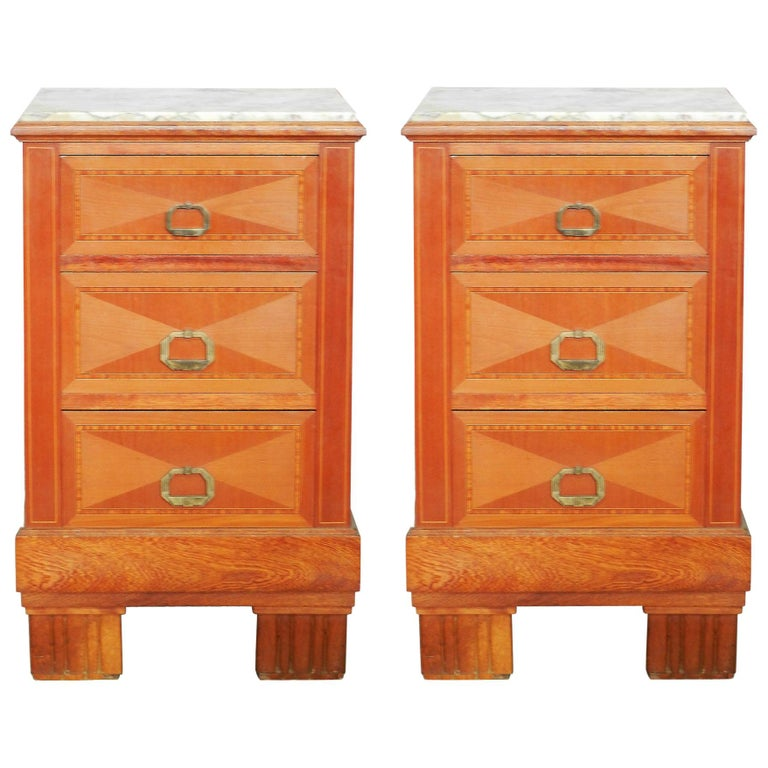 Pair of Art Deco Side Cabinets Nightstands Inlaid Bedside Tables French For Sale
