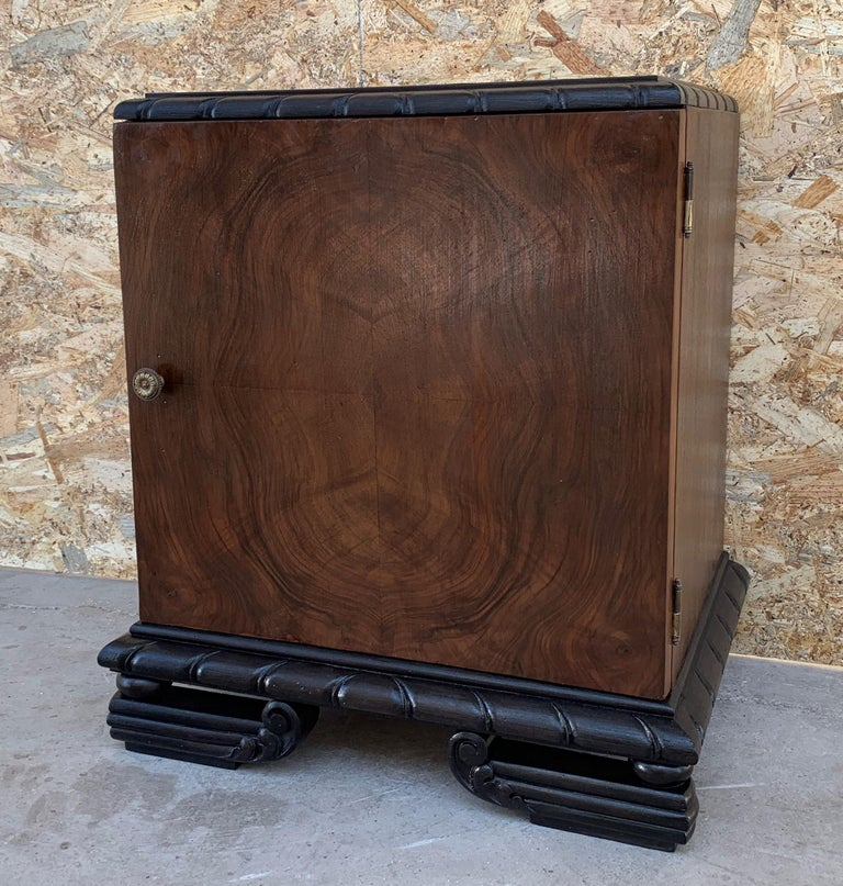 Burl Pair of Art Deco Side Cabinets or Nightstands with Ebonized Base For Sale
