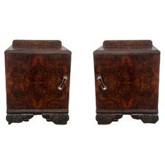 Pair of Art Deco Side Cabinets or Nightstands with Carved Ebonized Base
