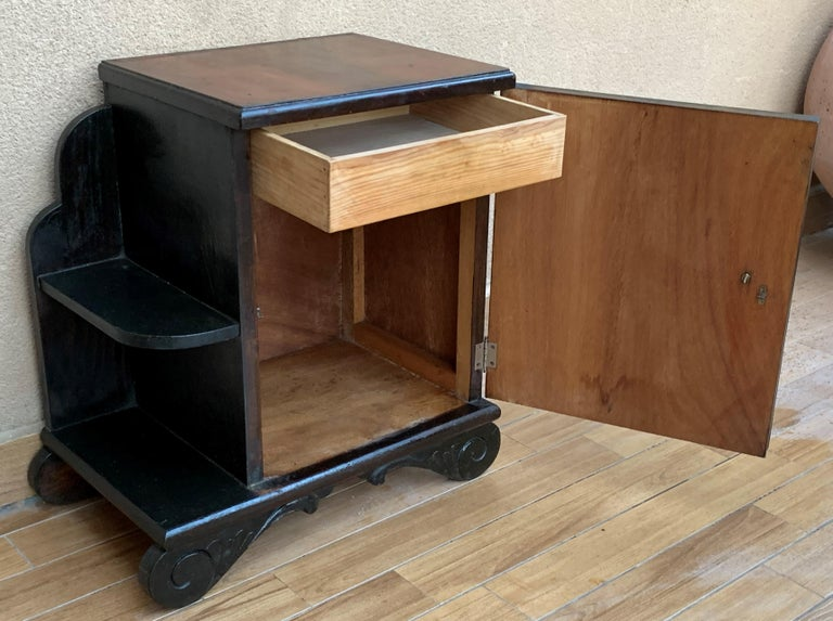 Pair of Art Deco Side Cabinets or Nightstands with Ebonized Base and Burl Walnut For Sale 6