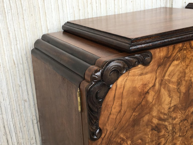 Pair of Art Deco Side Cabinets or Nightstands with Ebonized Base and Burl Walnut 10