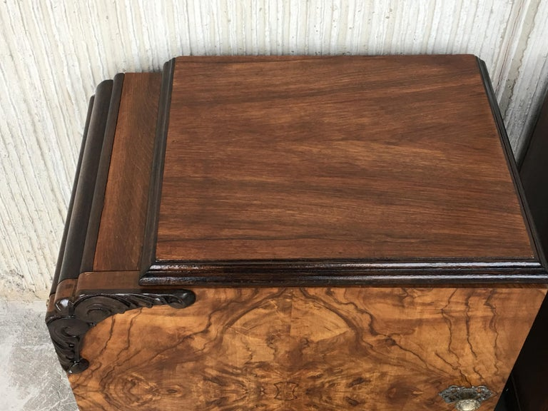 Pair of Art Deco Side Cabinets or Nightstands with Ebonized Base and Burl Walnut 11