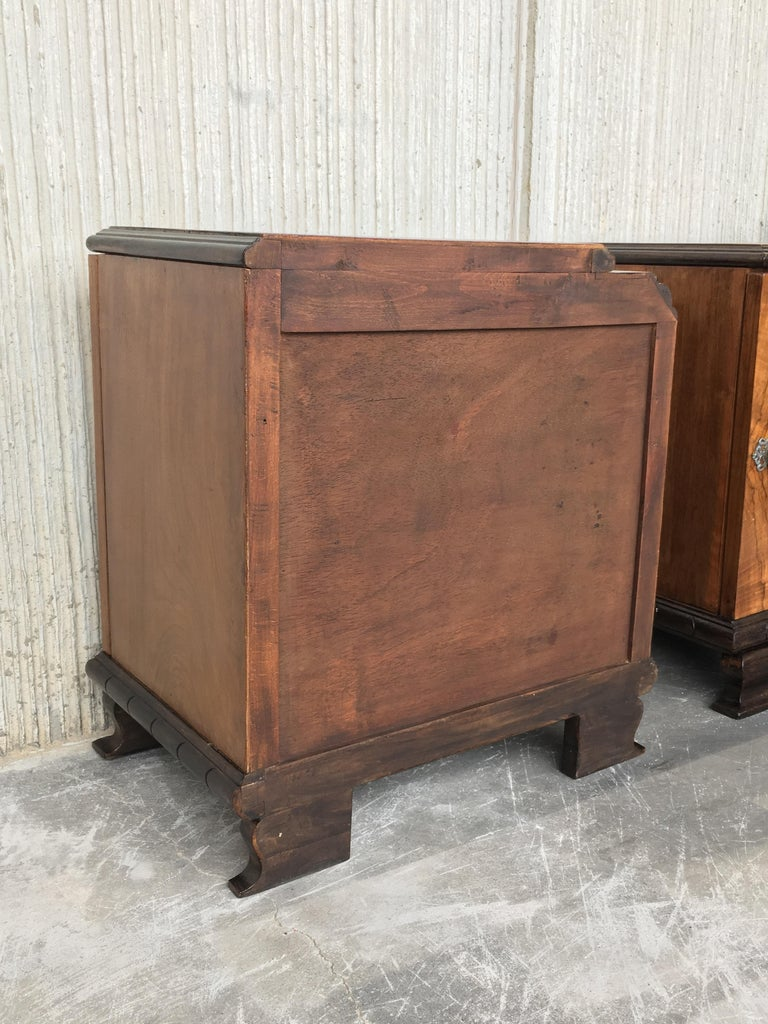 Pair of Art Deco Side Cabinets or Nightstands with Ebonized Base and Burl Walnut 12