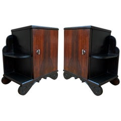 Pair of Art Deco Side Cabinets or Nightstands with Ebonized Base and Burl Walnut