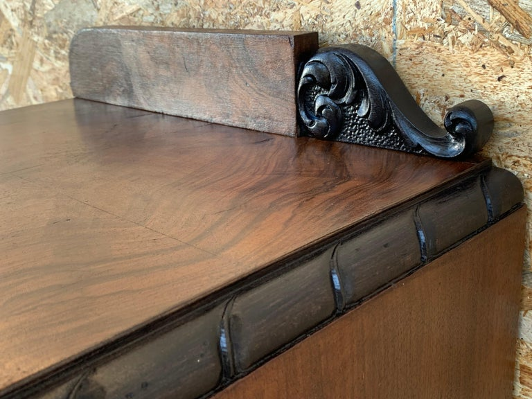 Pair of Art Deco Side Cabinets or Nightstands with Ebonized Base For Sale 4
