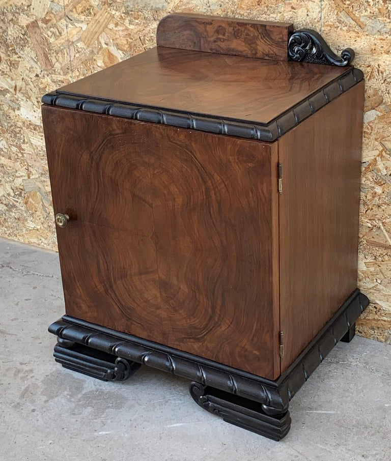 Pair of Art Deco Side Cabinets or Nightstands with Ebonized Base For Sale 8