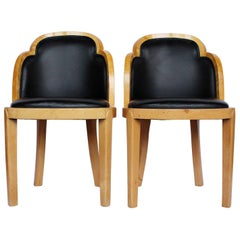 Pair of Art Deco Side Chairs. Satin Wood & Black Leather Cloud Back Design 1930