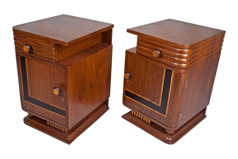 Pair of Art Deco Side Table Cabinets, Teak with Rosewood Inlay In Good Condition For Sale In Nantucket, MA
