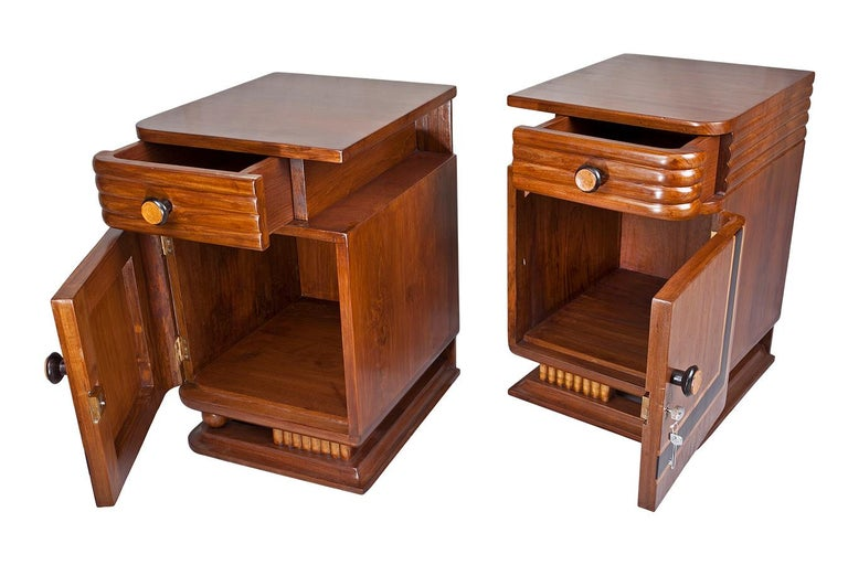 20th Century Pair of Art Deco Side Table Cabinets, Teak with Rosewood Inlay For Sale