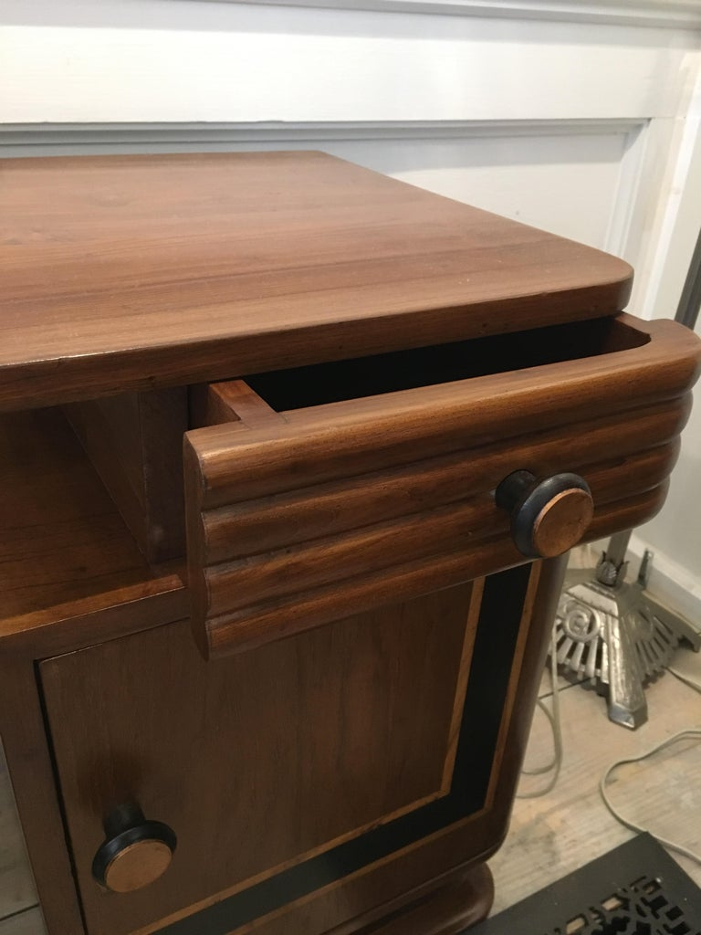 Pair of Art Deco Side Table Cabinets, Teak with Rosewood Inlay For Sale 5