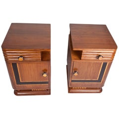 Pair of Art Deco Side Table Cabinets, Teak with Rosewood Inlay