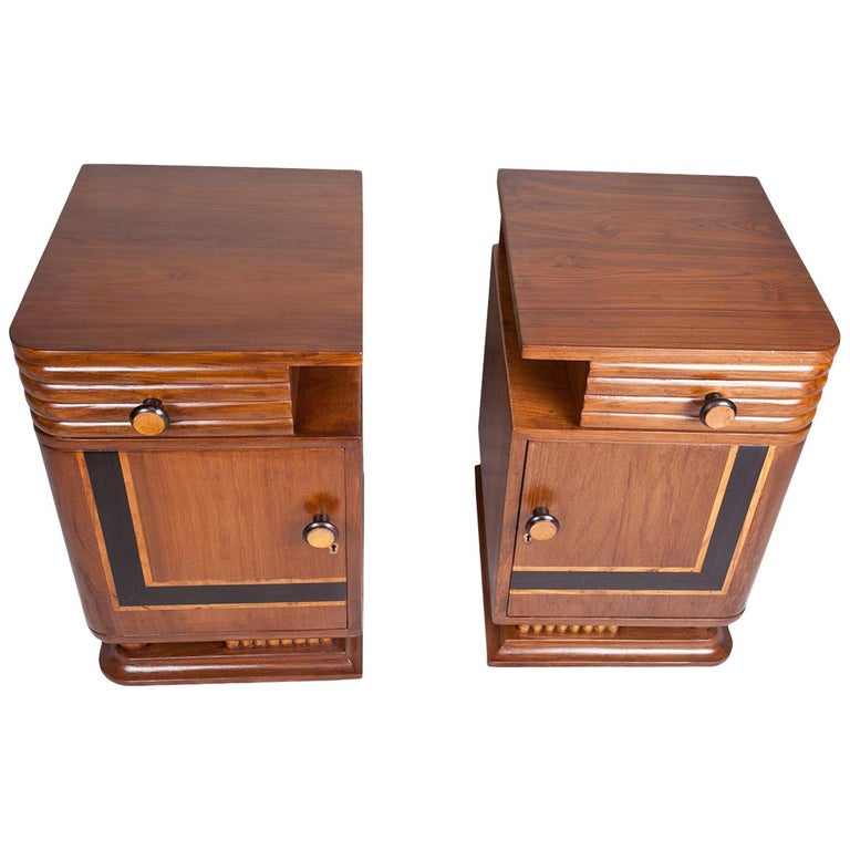 Pair of Art Deco Side Table Cabinets, Teak with Rosewood Inlay For Sale