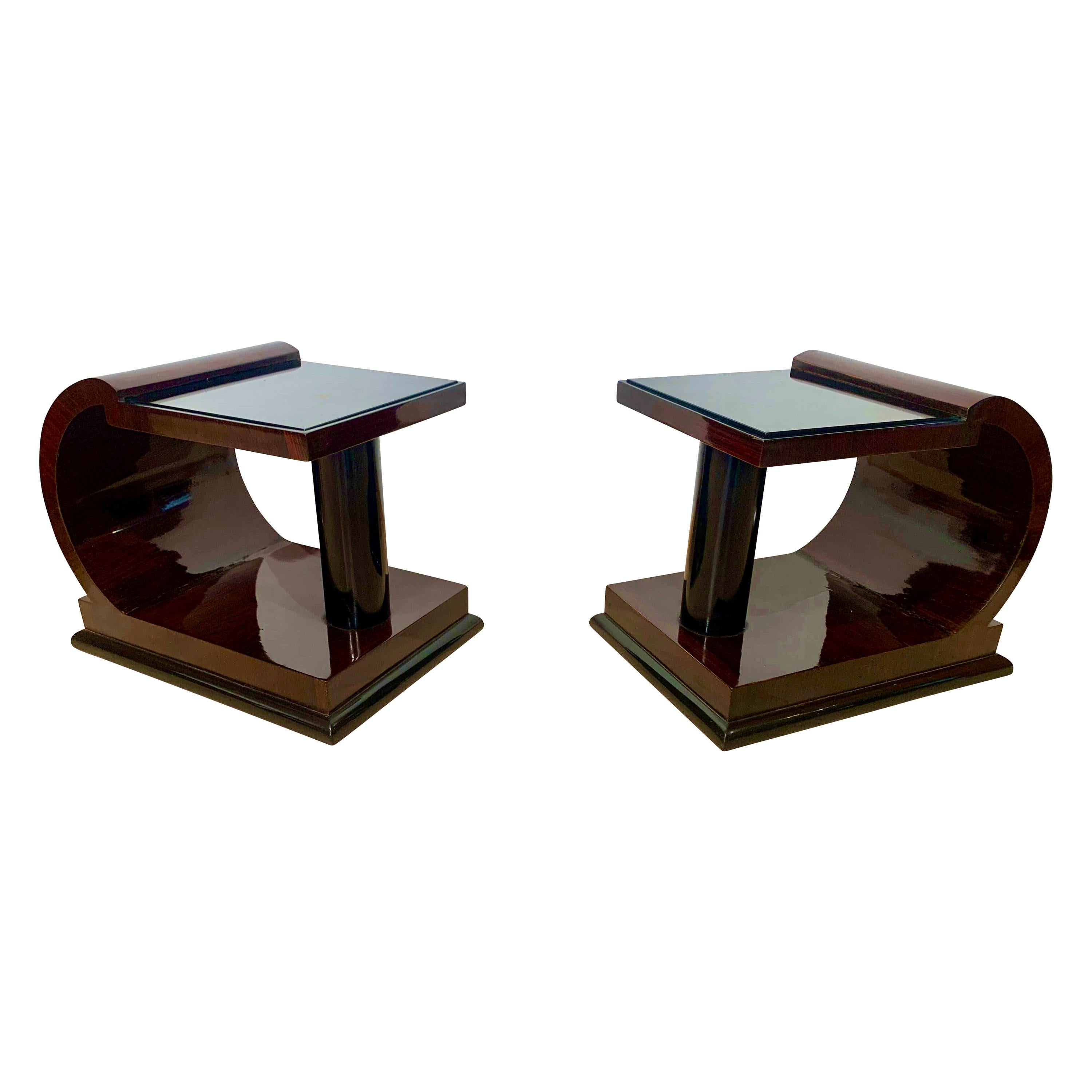 Pair of Art Deco Side Tables, Rosewood, Ebonized and Glass, France, circa 1930