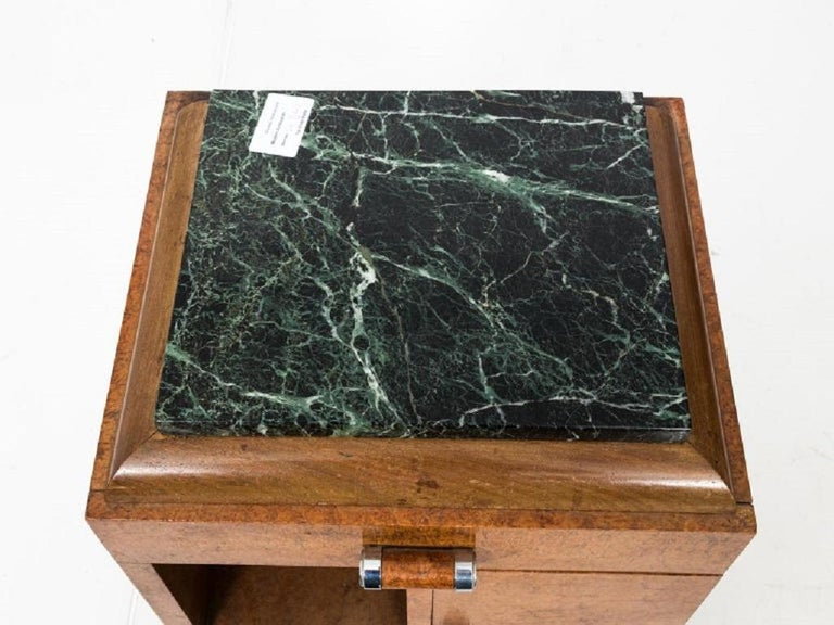 Unknown Pair of Art Deco Side Tables with Marble Tops, circa 1930s For Sale