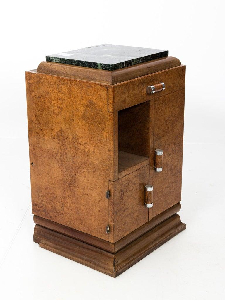 Burl Pair of Art Deco Side Tables with Marble Tops, circa 1930s For Sale