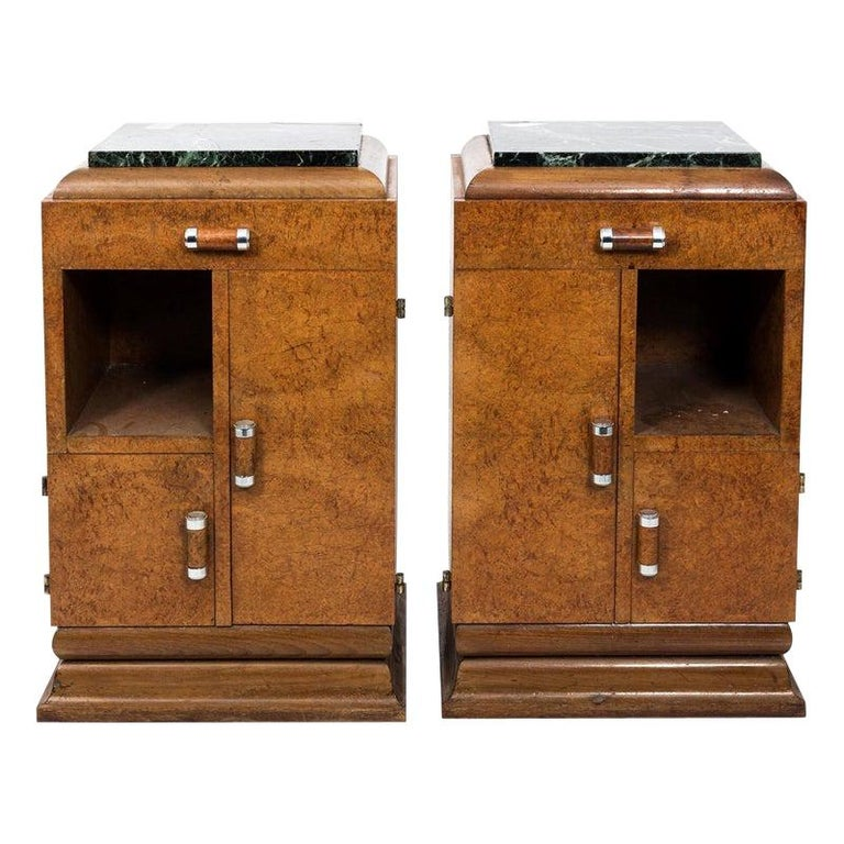 Pair of Art Deco Side Tables with Marble Tops, circa 1930s For Sale