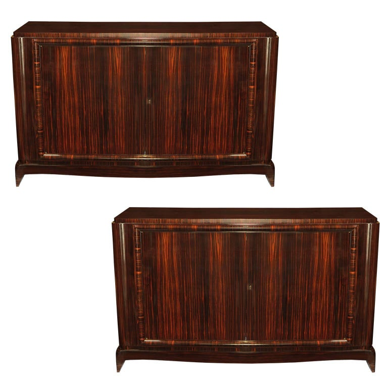 Pair of Art Deco Sideboards in Macassar Ebony, France, circa 1930s