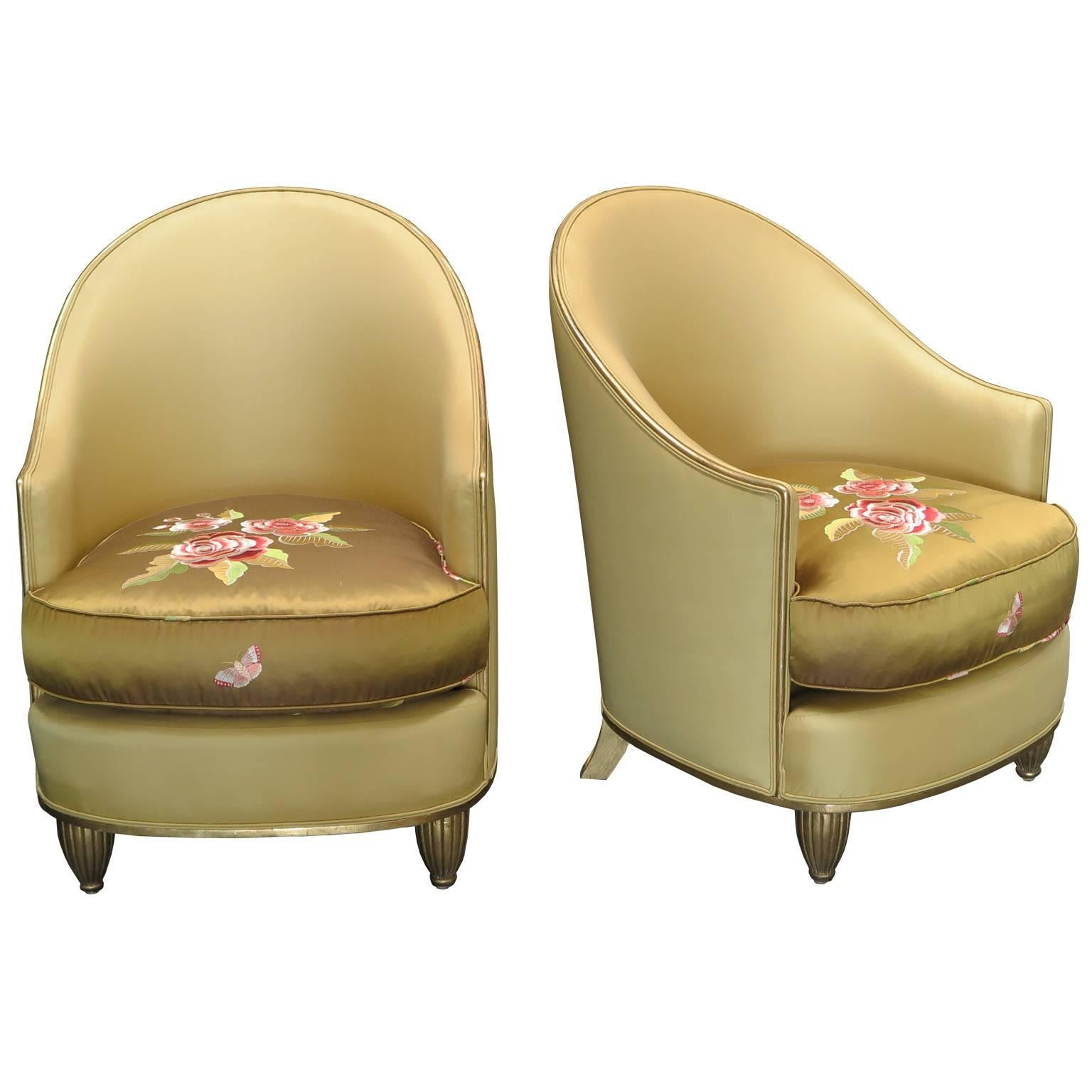 Pair of Art Deco Silk Lounge Chairs, France, circa 1920s