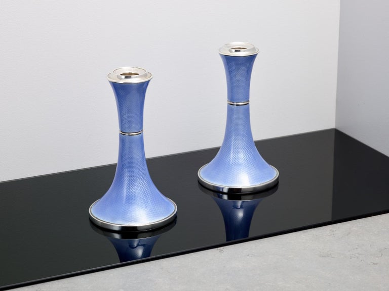 Pair of Art Deco Silver and Guilloche Enamel Candlesticks, Birmingham, 1920 In Excellent Condition For Sale In London, GB