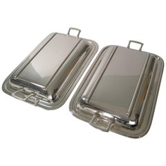 Pair of Art Deco Silver Plated Entree or Serving Dishes, circa 1930