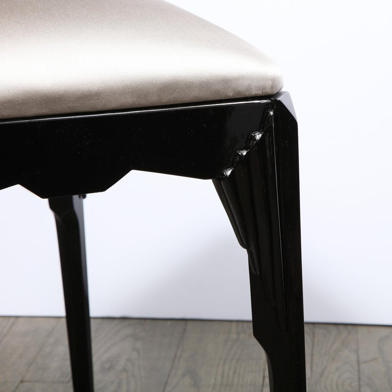 Pair of Art Deco Skyscraper Style Black Lacquer Stools in White Gold Silk For Sale 5