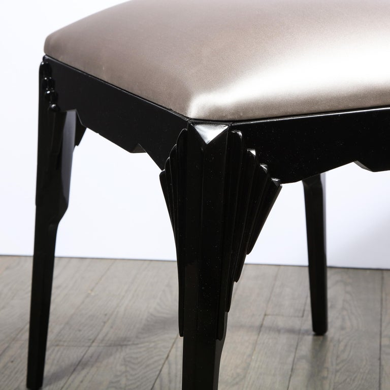 Pair of Art Deco Skyscraper Style Black Lacquer Stools in White Gold Silk For Sale 6