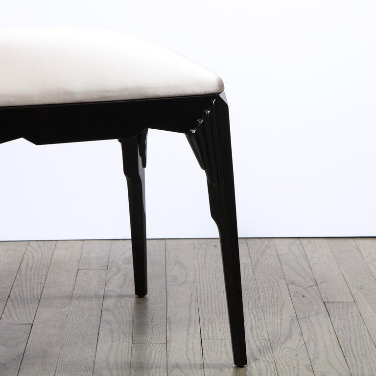 American Pair of Art Deco Skyscraper Style Black Lacquer Stools in White Gold Silk For Sale
