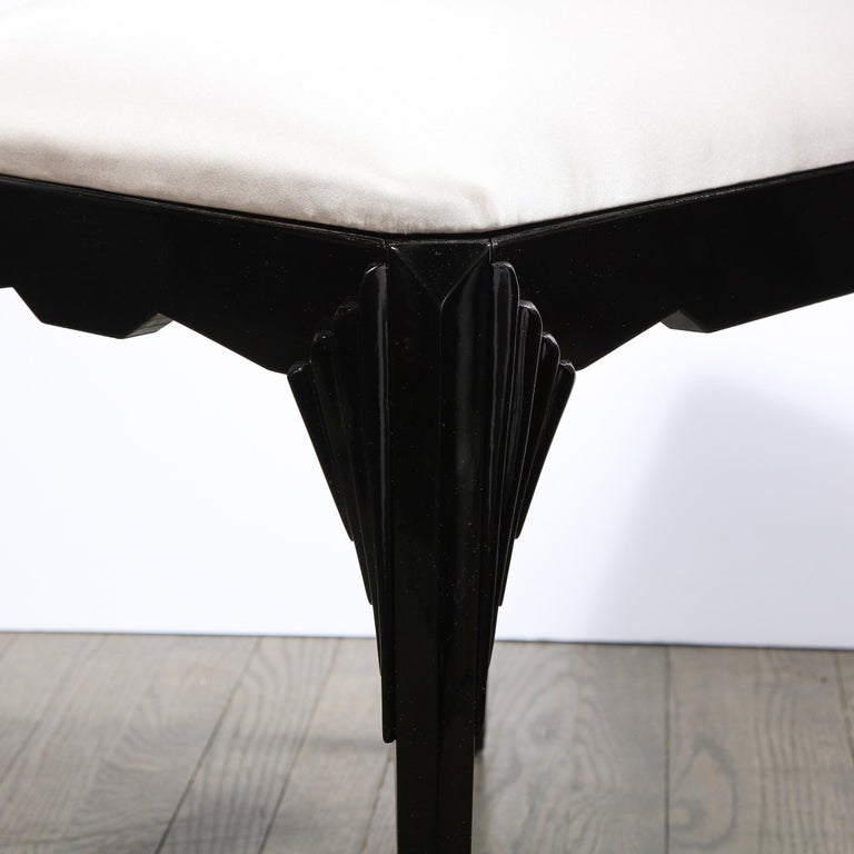 Mid-20th Century Pair of Art Deco Skyscraper Style Black Lacquer Stools in White Gold Silk For Sale