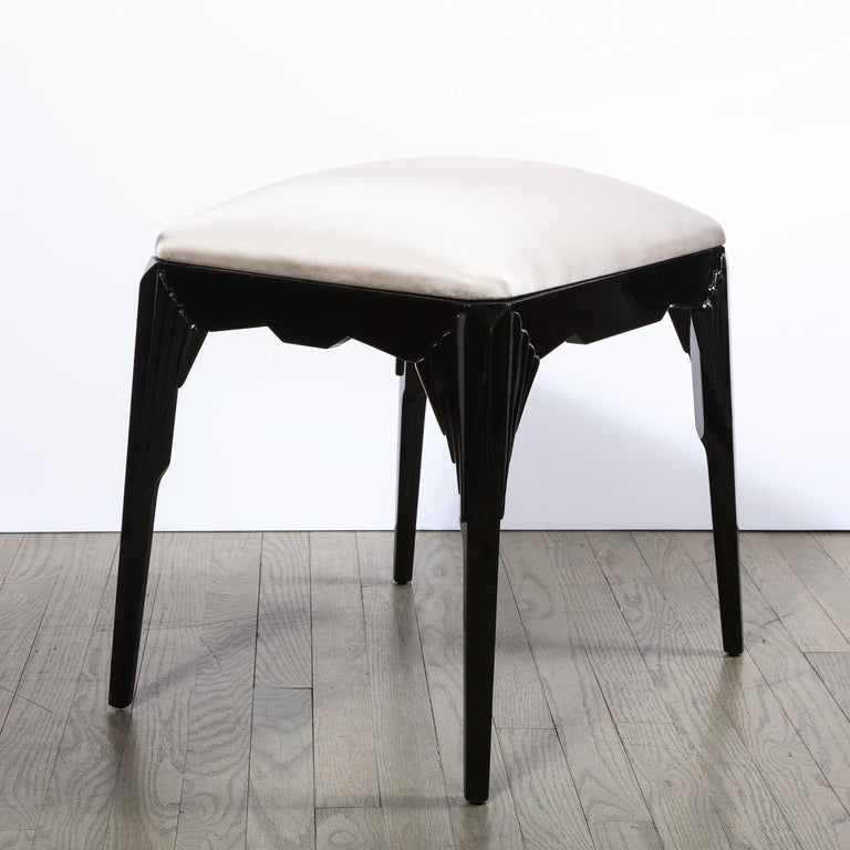 Pair of Art Deco Skyscraper Style Black Lacquer Stools in White Gold Silk For Sale 1