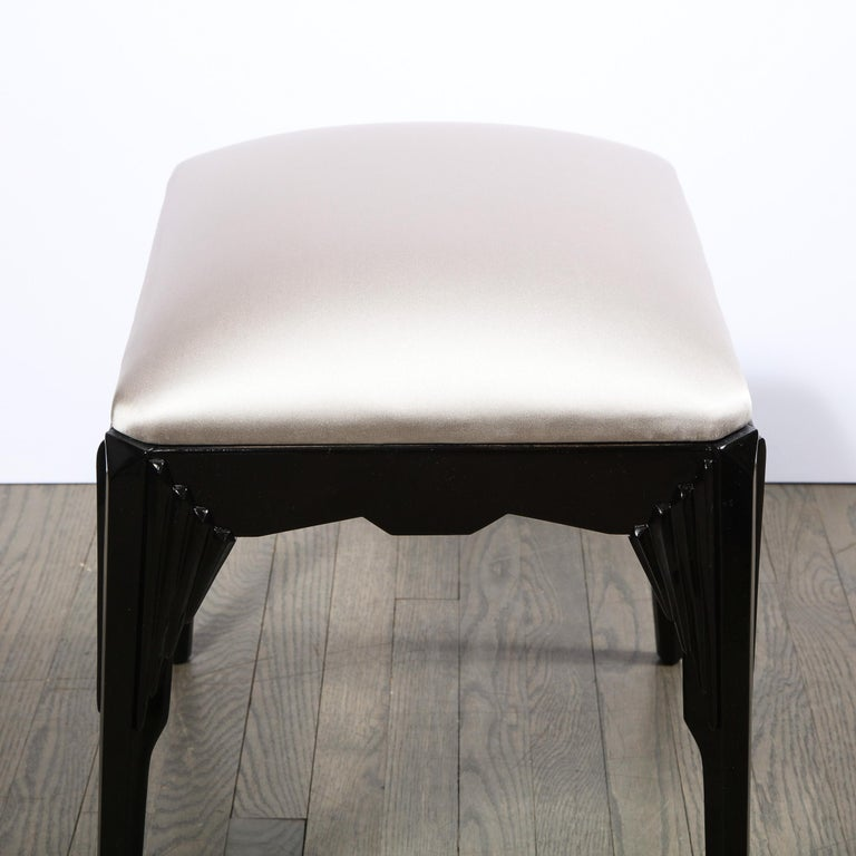 Pair of Art Deco Skyscraper Style Black Lacquer Stools in White Gold Silk For Sale 3