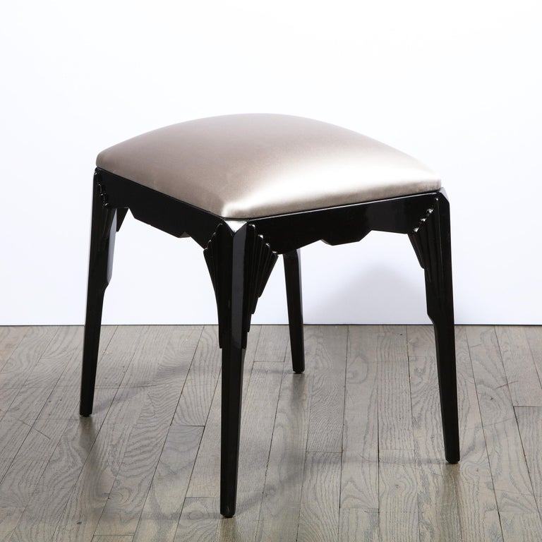 Pair of Art Deco Skyscraper Style Black Lacquer Stools in White Gold Silk For Sale 4