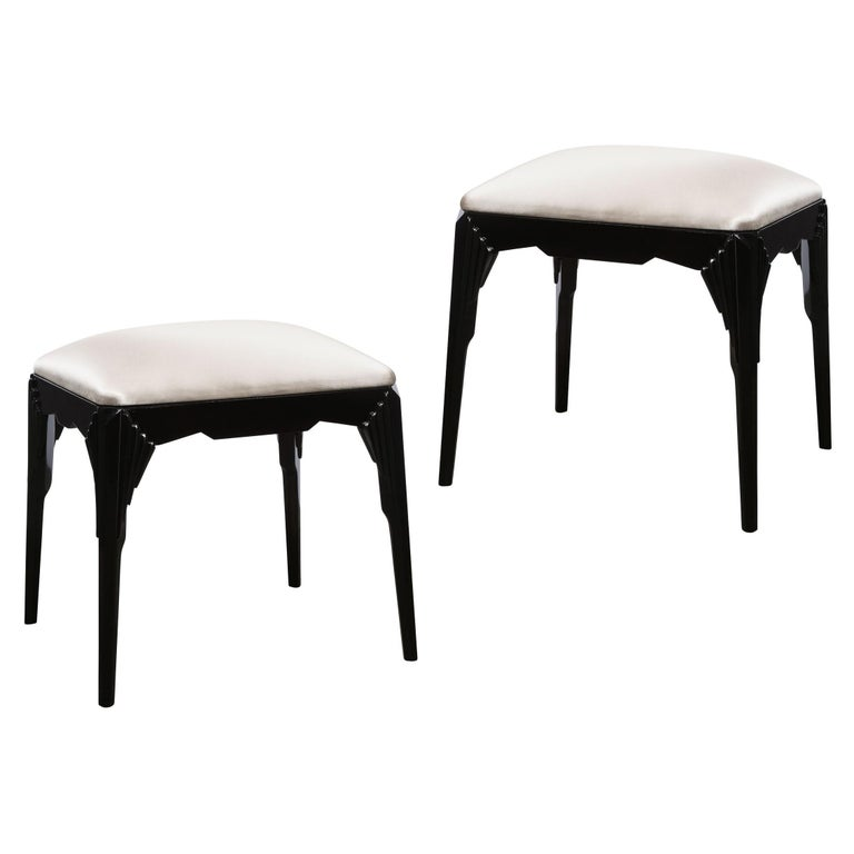 Pair of Art Deco Skyscraper Style Black Lacquer Stools in White Gold Silk For Sale