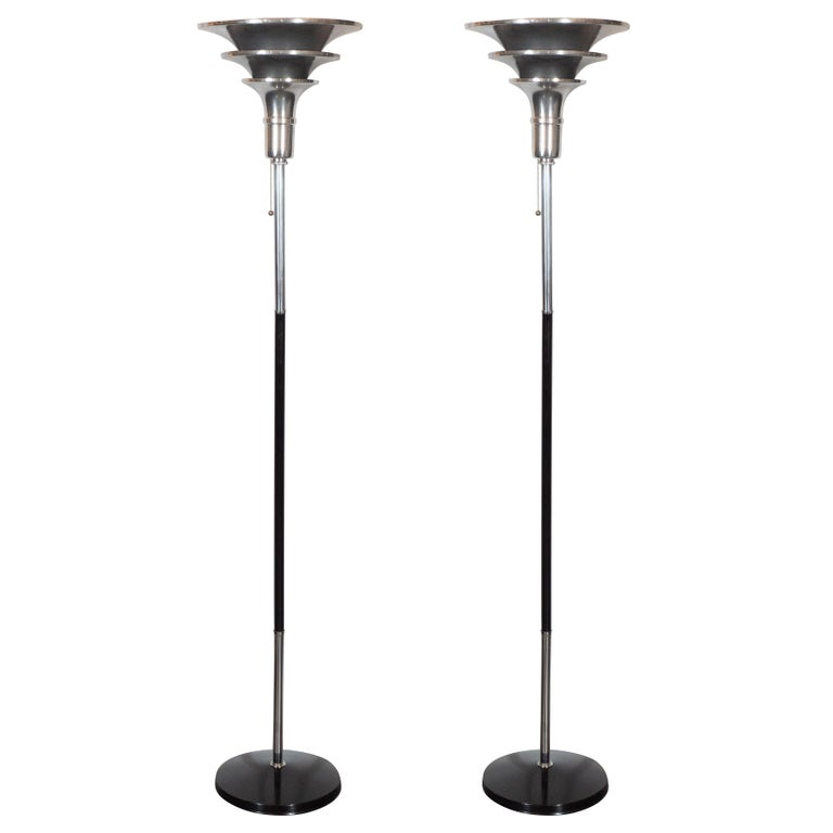 Pair of Art Deco Skyscraper Style Streamlined Chrome and Black Enamel Torchieres 1